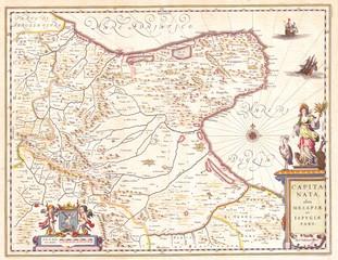 1630, Blaeu Map of Capitanata, Foggia, Italy