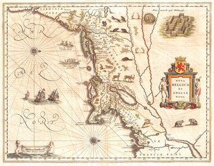 1635, Blaeu Map of New England and New York, 1st depiction of Manhattan as an Island