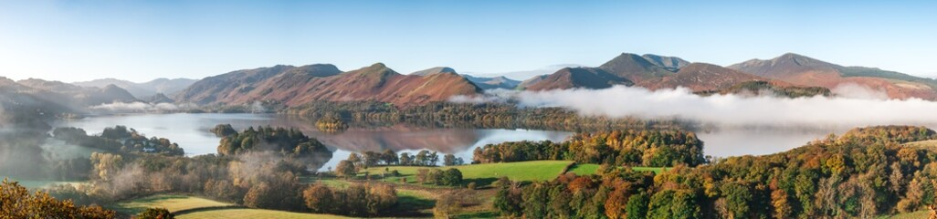 A panorama of Derwent Water, Lake District in Autumn colours with cloud inversion Wall mural