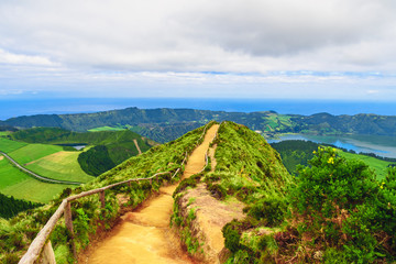 Walking path and hiking trail leading to a view on the lakes of Sete Cidades, Azores, Portugal