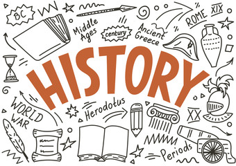 History doodles with lettering.  Wall mural