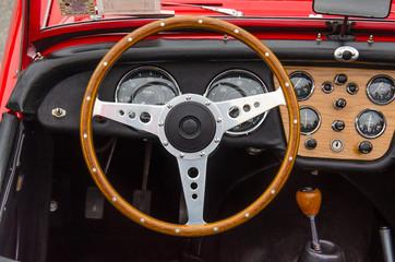 vintage wooden steering wheel