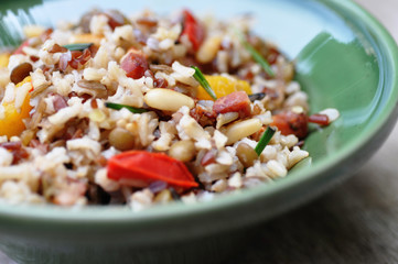 Wholegrain rice with beans and peppers on a plate