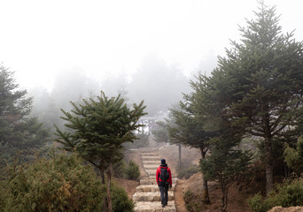 Person walking up stairs in fog during an early morning just outside Namche Bazaar in Nepal.