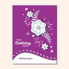 Paper cut design with flower composition and butterfly. Beautiful background with paper fantasy floral decorations, Template greeting flyer, save the date, birthday card Vector illustration.