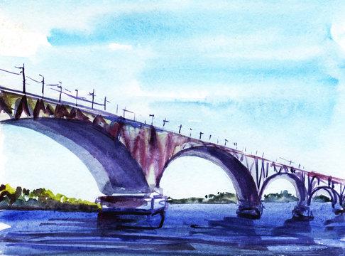 Bridge over the river. Watercolor sketch. Hand-drawn illustration
