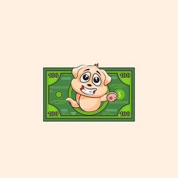 dog cub sticker emoticon money profit dollar