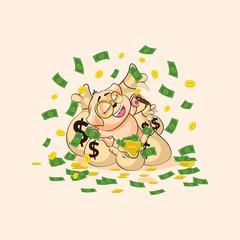 dog cub sticker emoticon happy on bags of money