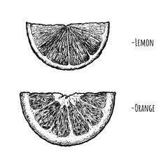 Lemon and orange wedges