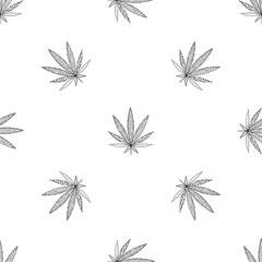 Cannabis seamless pattern. Hand drawn Marijuana floral pattern. Flat leaf of weed cannabis, monochrome black and whit. Marijuana design element seamless for fabric vector illustration.