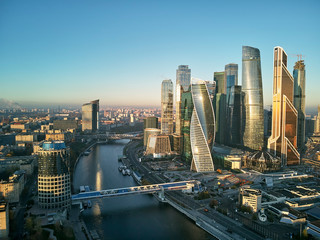 Moscow International Business Center and Moscow urban skyline after sunset. Panorama. Aerial view