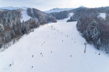 Aerial view of the ski resort in Montenegro