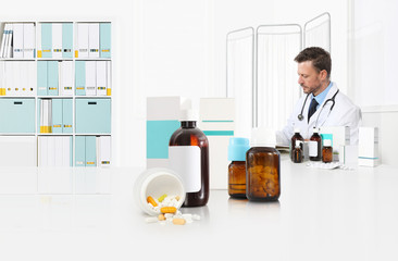 doctor prescribes prescription sitting at the desk office with pills, drugs and medicine bottles, medical care concept, web banner and copy space template