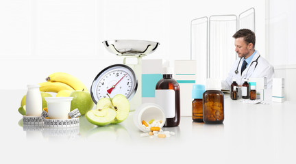 dietitian nutritionist doctor prescribes prescription at the desk office with apple, yogurt, medical drugs, tape meter and scale, healthy and balanced diet concept, web banner and copy space
