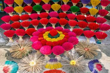 Incense colourful sticks in Hue market, Vietnam
