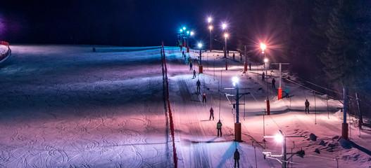 Slovak ski center Tále, winter night