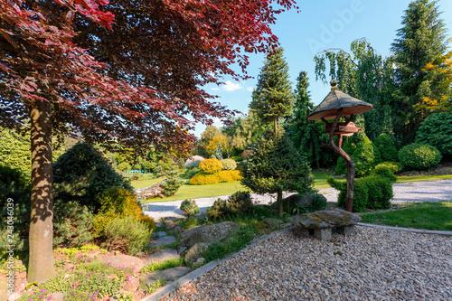 Beautiful Spring Garden In Front Bird Feeder Gardening Concept