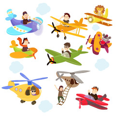 Set of funny cartoon planes with cute pilots.