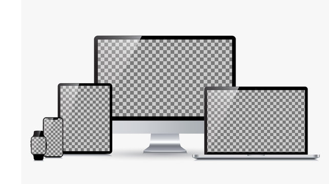 Set technology devices with transparent display - stock vector