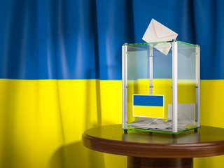 Ballot box with flag of Ukraine and voting papers. Ukrainian presidential or parliamentary election.