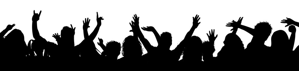 Silhouette party people together – vector