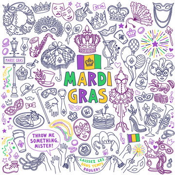 """Mardi Gras carnival doodles set. Traditional holiday symbols, masks, party decorations. Freehand vector drawing isolated on background. """"Laissez Les Bons Temps Rouler"""" means """"Let the good times roll"""""""