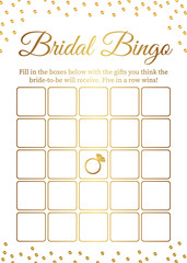 Bridal Bingo card template. Bridal Shower Bingo games. Funny activity for guests. Bachelorette Party activities.  Wedding stationery. Gold polka dots.