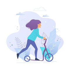 Woman riding a kick scooter in park vector illustration.