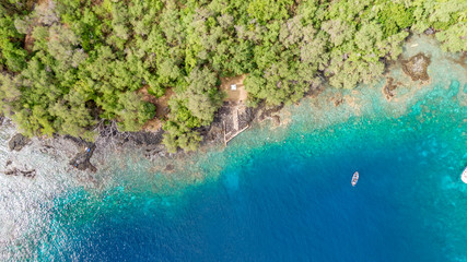 Stunning aerial drone view the Captain James Cook monument in Kealakekua Bay, Big Island, Hawaii. The monument marks the spot where James Cook was killed in a fight with native Hawaiians in 1779.