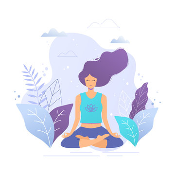 Woman sitting in lotus position practicing meditation. Yoga girl vector trendy illustration.