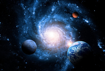 Spoed Fotobehang Heelal Planets of the solar system against the background of a spiral galaxy in space. Elements of this image furnished by NASA.