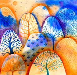 Watercolor Mysterious Forest - Scene Design - Иллюстрация.