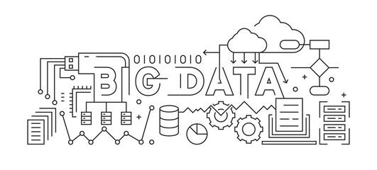 Big Data Line Art Design. Black And White Vector Design. Data And Storage Concept