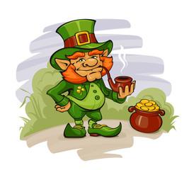 Funny Leprechaun Guarding His Gold