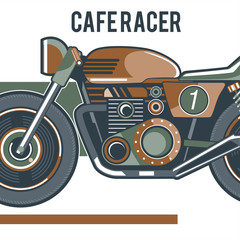vintage motorcycle labels, badges and design elements, racer, print and banner, emblem, - Vector
