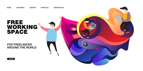 Working Space Illustration and Design for Website, Presentation, and Landing Page with colorful liquid background