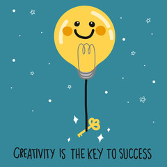 Light bulb smile face balloon and key on dark blue sky vector illustration, business concept