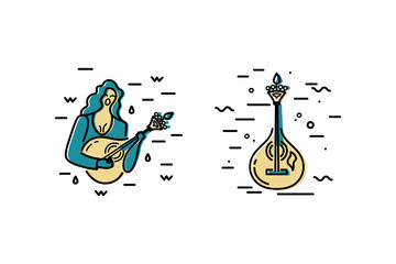 Woman with guitar is singing a song. Acoustic guitar logo design. Portuguese fado guitar. Flat and line style vector illustration.