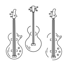 Bass guitar and acoustic guitar icons isolated on background. Line style. Vector illustration