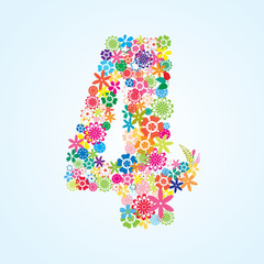 Vector Colorful Floral 4 Number Design isolated on white background. Floral Number Four Vector Typeface