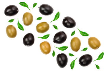 Green and black olives isolated on a white background with copy space for your text. Top view. Flat lay