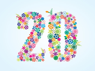 Vector Colorful Floral 20 Number Design isolated on white background. Floral Number Twenty Vector Typeface