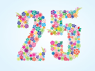Vector Colorful Floral 25 Number Design isolated on white background. Floral Number Twenty Five Vector Typeface.