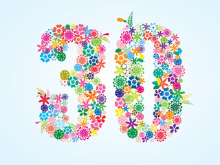Vector Colorful Floral 30 Number Design isolated on white background. Floral Number Thirty Vector Typeface.