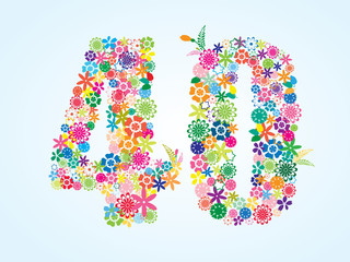 Vector Colorful Floral 40 Number Design isolated on white background. Floral Number Forty Vector Typeface.