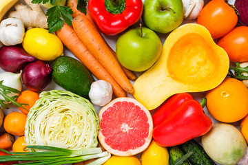 Composition with variety of vegetables and fruits