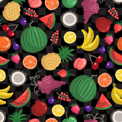Vector seamless pattern with fruits and berries on black color. Colored pattern on the theme of organic, vegetarian food