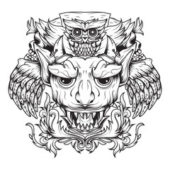 Line Art of Golden winged devils and death owls. Illustration that depicts a horned and fanged devil's head and above it is an owl