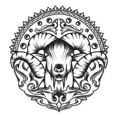Line art ofMythology Goat sacred geometry with a beautiful ornament