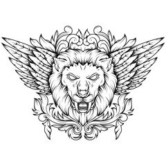 Line art Illustration of a golden winged mythical lion head. With floral and sacred geometry that makes it more artistic